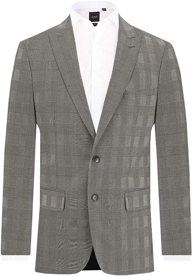 Dobell Herren Anzug Jackett steigendem Revers Schwarz Weiß