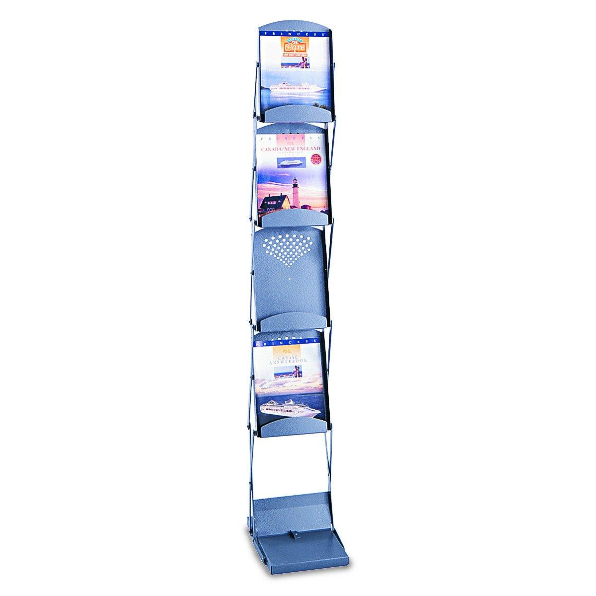 Safco 4132GR Portable Folding Literature Display, 10w x 13-1/4d x 56h, Metallic Gray