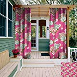 leinuoyi Traditional, Outdoor Curtain of Lights, Vivid Botanical Pattern from Taiwan Hakka Culture with Peony and Hibiscus, Outdoor Curtain Set for Patio Waterproof W84 x L96 Inch Pink Blue Green
