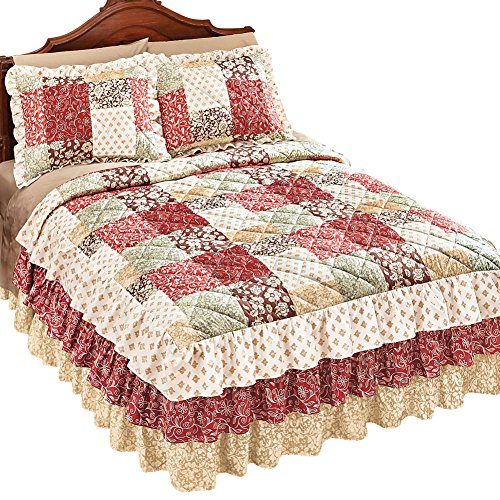 Collections Etc Worthington Patchwork Quilted Ruffle Skirt Lightweight Bedspread, Rust, Queen (Bedspread With Skirt)