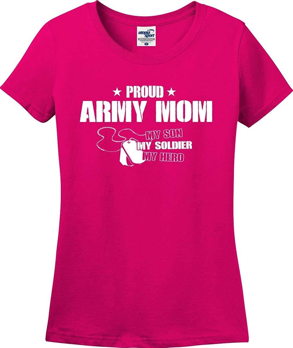 S-3X Utopia Proud Army Mom My Son Soldier Hero Ladies T-Shirt