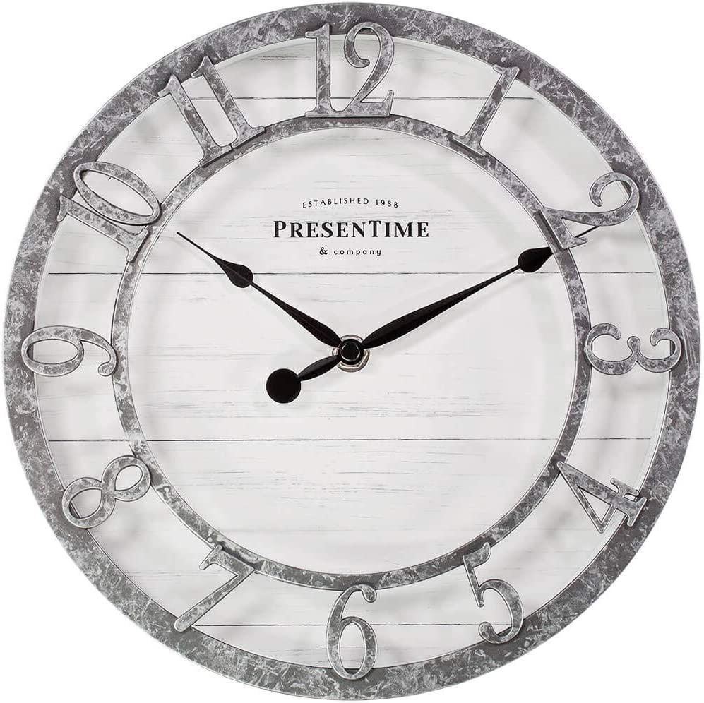 "PresenTime & Co 10"" Farmhouse Series Wall Clock, Quartz Movement, Shiplap Style, Raised 3D Arabic Numeral, Galvanized Finish"