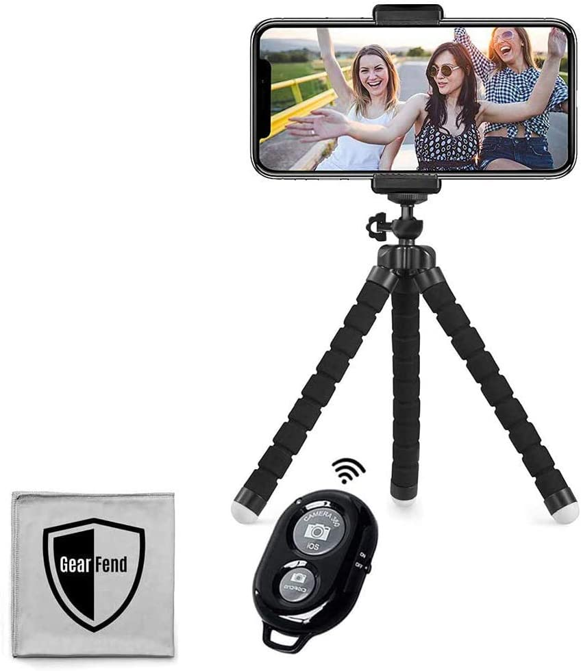 Amazon Com Gearfend 6 5 Flexible Universal Tripod Smartphone Mount With Wireless Remote Control For All Iphones Samsung Phones And Most Mobile Phones Plus Microfiber Cloth Camera Photo