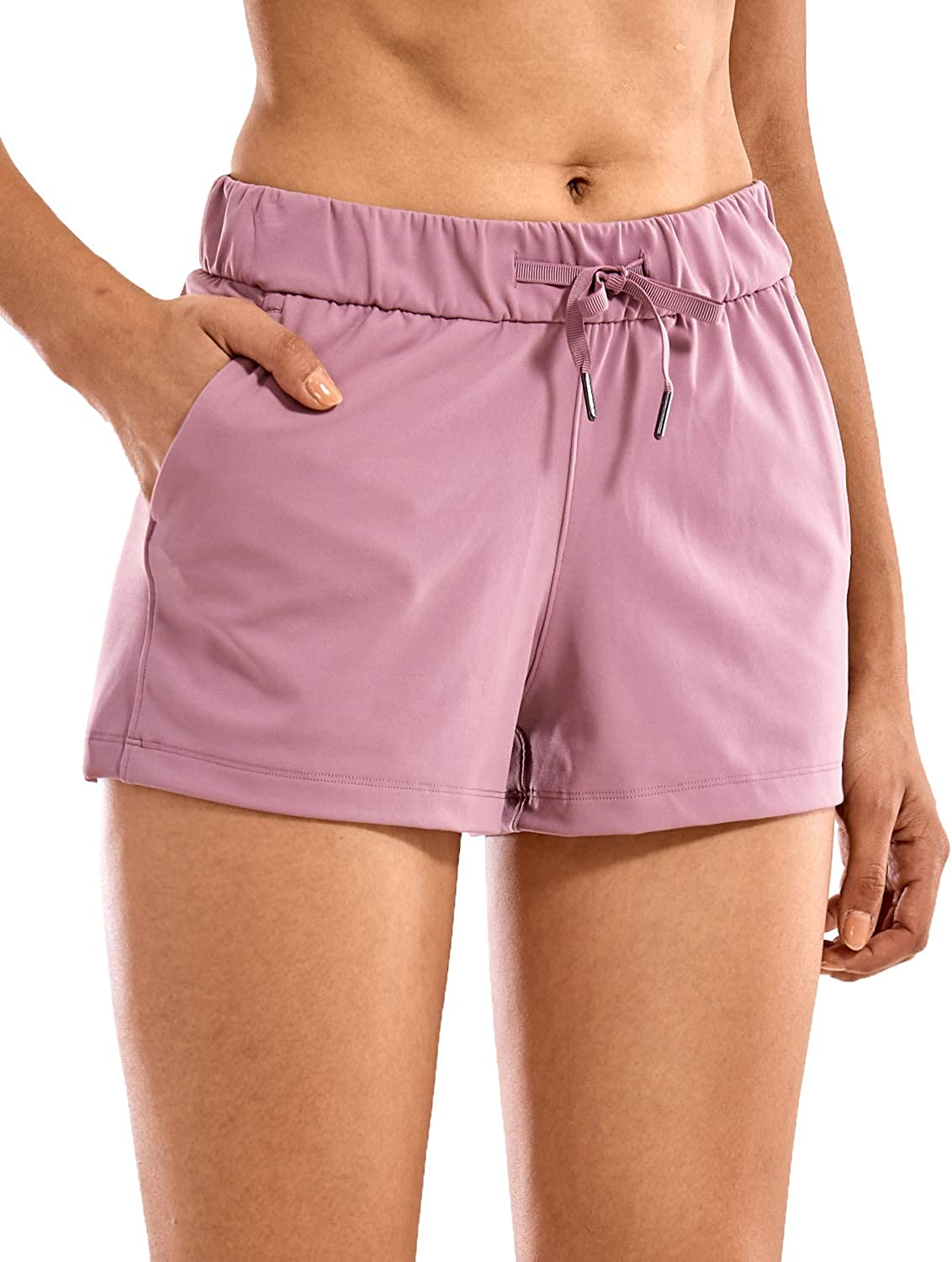 CRZ YOGA Womens Stretch Lounge Travel Shorts Elastic Waist Comfy Workout Shorts with Pockets 2.5 Inches