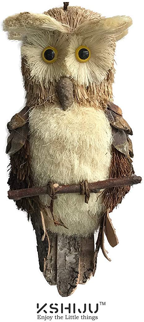 Amazon Com Kshiju Fengshui Realistic Handmade Owl Natural Grass Twig Owl Decoration Home Kitchen