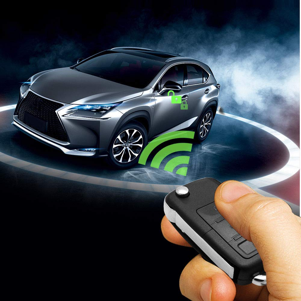 MASO Auto Zentralverriegelung mit 4 T/üren schl/üsselloses Zugangssystem Wegfahrsperre mit Diebstahlwarnanlage mit Schocksensor Universal Passt f/ür alle Auto