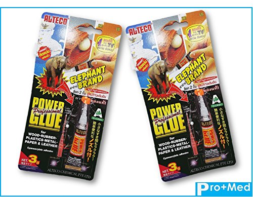 Professional POWER GLUE Elephant Brand for Wood Rubber Plastic Metal Paper Leather 3 g (Pack of 2)