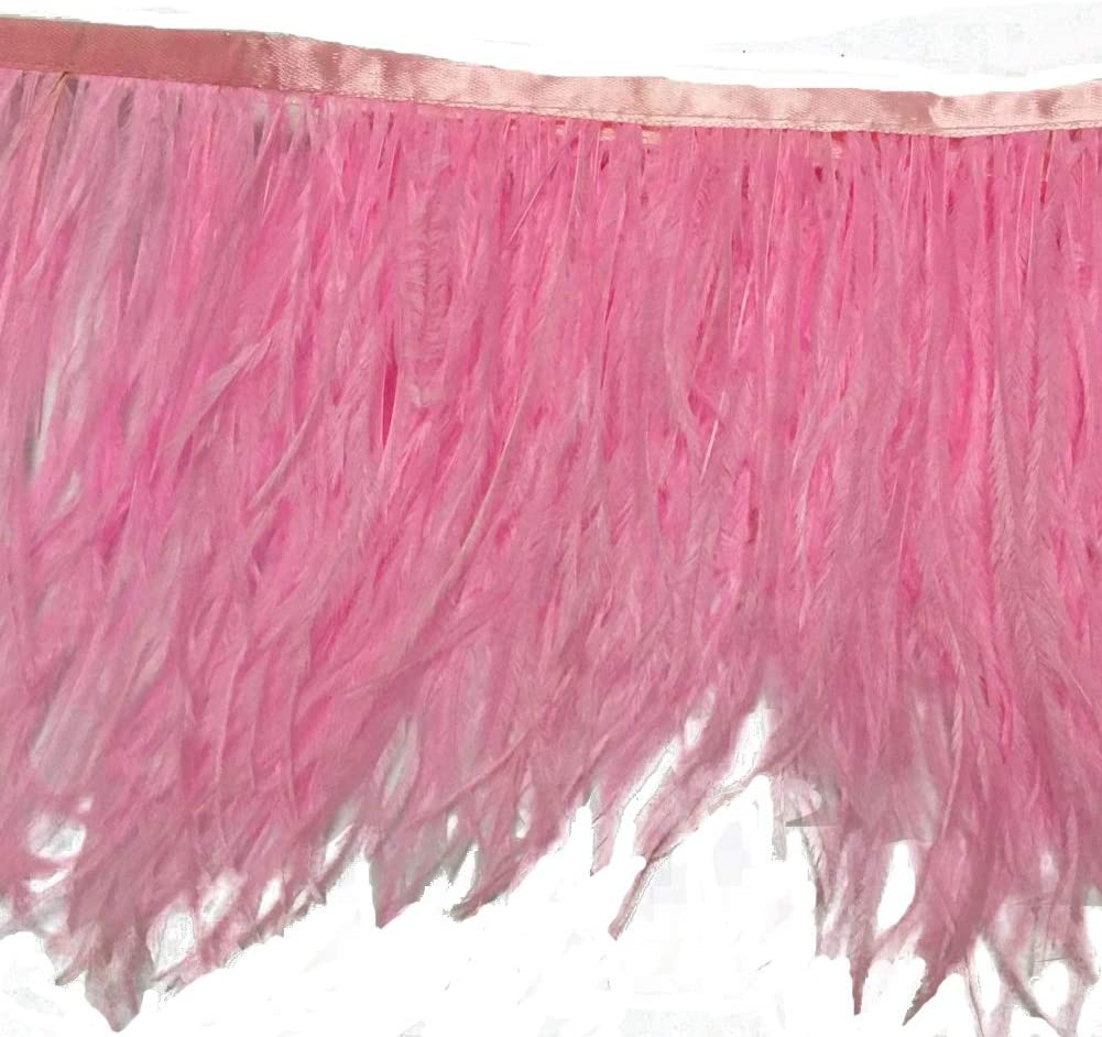 WIBEN Pack of 2 Yards Natural Dyed Ostrich Feathers Trim Fringe 4inch Width for Dress Sewing Crafts Purple Clothing DIY