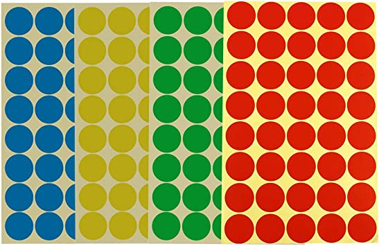 green or yellow Coloured round circular A4 Self Adhesive labels in red blue