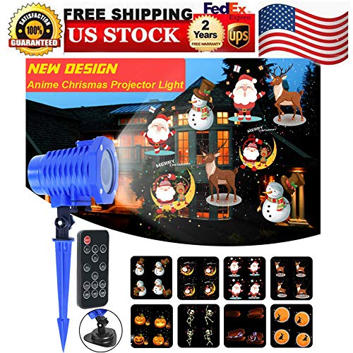 Decorative Lighting Projectors, Projection Light Slides Animated Led Projector Light 5W Sata Claus Elk Patterns Waterproof IP65 with Remote Control, Ideal for Decoration on Christmas Halloween Birth -