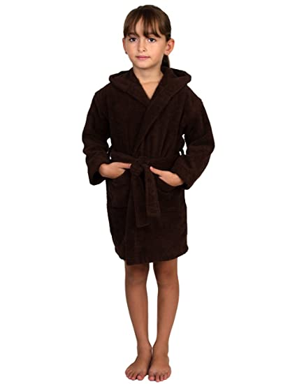 d0b8ccfb98 TowelSelections Little Girls  Turkish Cotton Hooded Kids Terry Bathrobe  Cover-up Size 4 Coffee