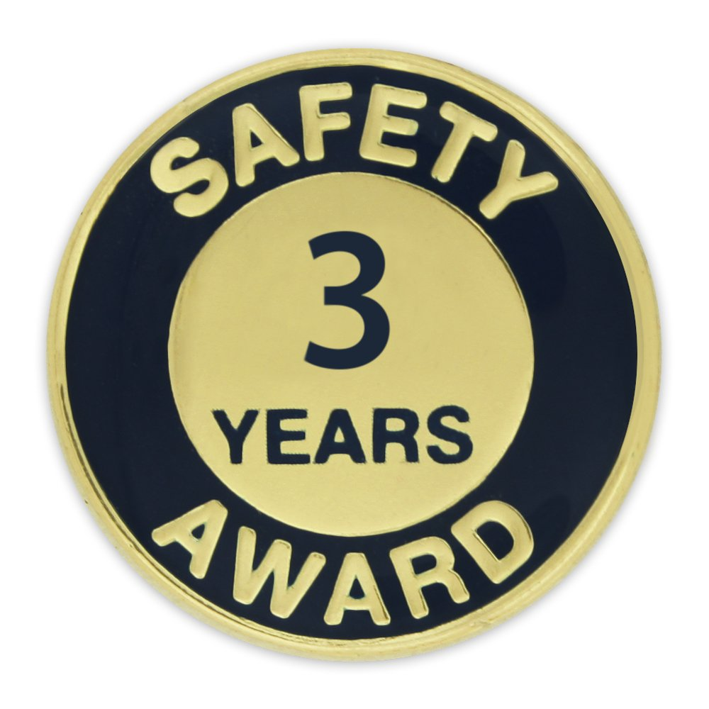 PinMart's Gold and Navy 3 Year Safety Award Enamel Lapel Pin