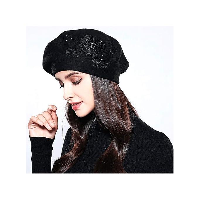 a67c1ab0ac8 SSwellshopping Women Beret Cotton Wool Fashion Winter Hats Relaxed Fit Cap  for Women (Black)