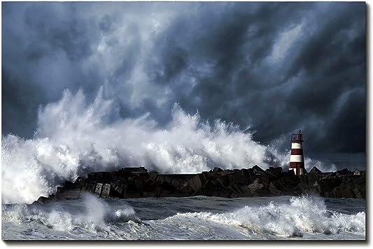 Storm at Sea Ocean Picture Poster Scenic Art Framed Black /& White Print
