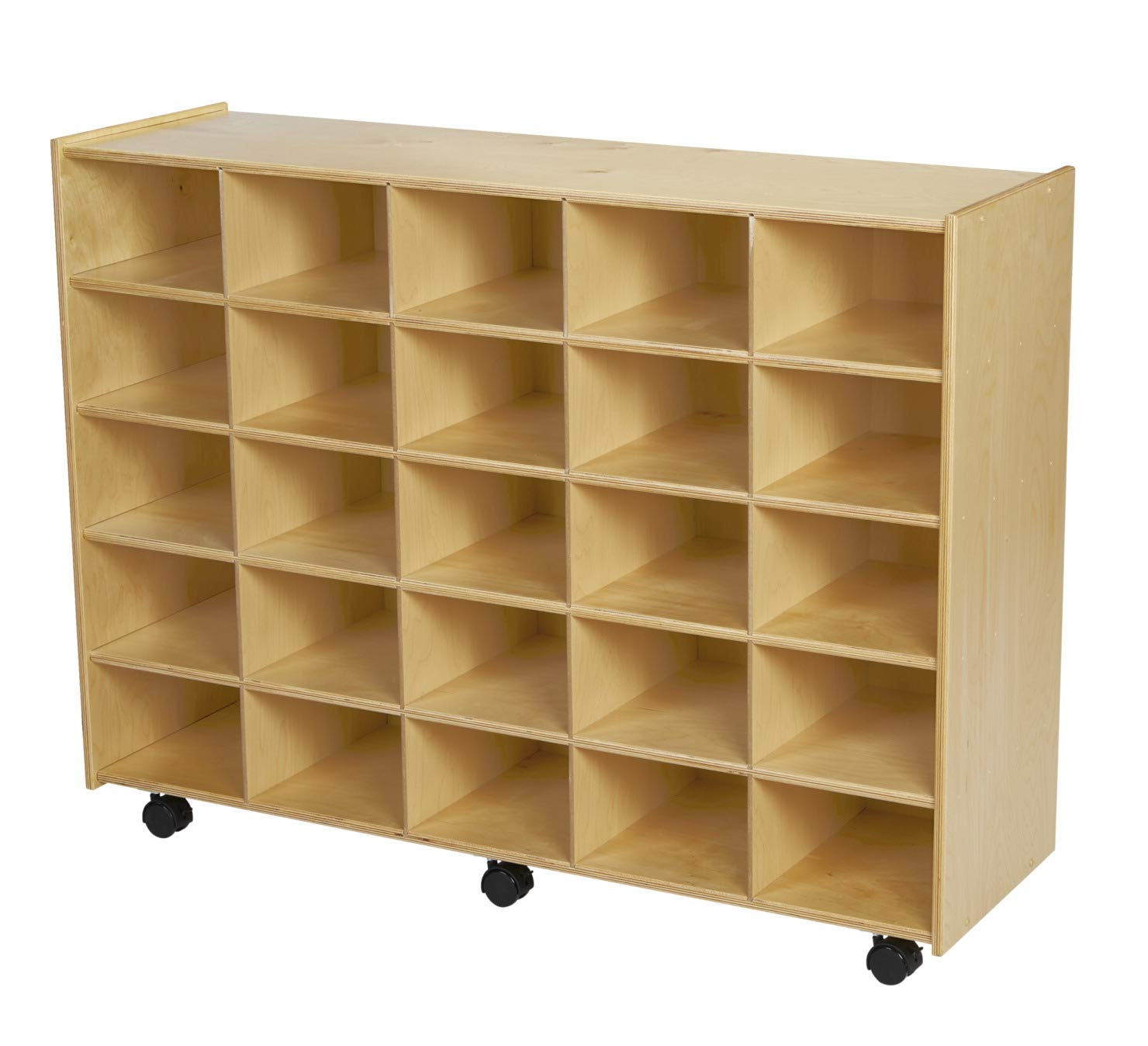 Childcraft Mobile Cubby Unit with Locking Casters, 47-3/4 x 14-1/4 x 36 Inches