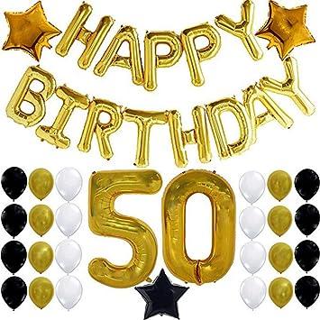 Joyeux Anniversaire Ballon Bannière 50 Ans Party Decorations