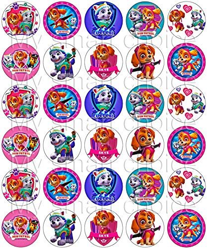 30 x Edible Cupcake Toppers - Paw Patrol Skye and Everest Themed Collection of Edible Cake Decorations | Uncut Edible Prints on Wafer Sheet by My Smart Choice (Image #1)