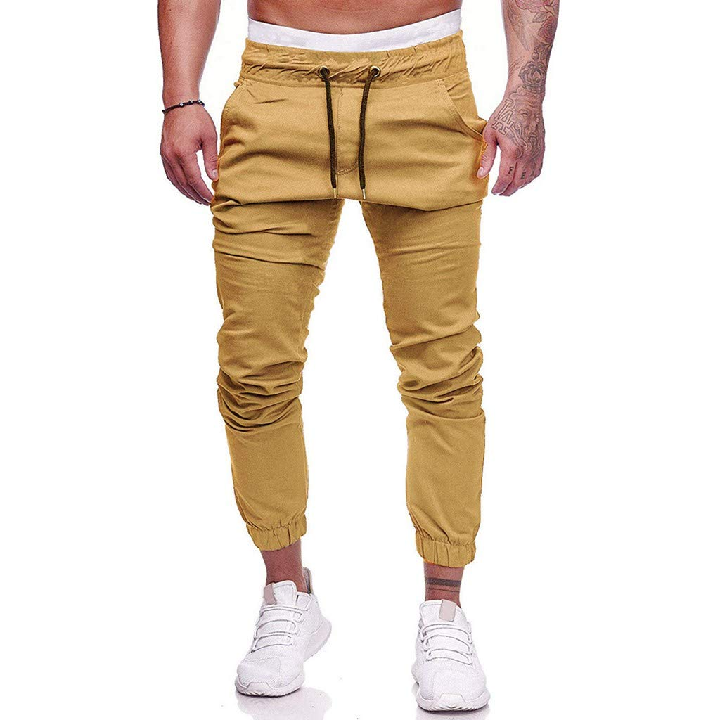Sunyastor Jogger Pants for Men Slim Fit Workout Sports Activewear Gym Sweatpants Running Pants with Pockets Yellow
