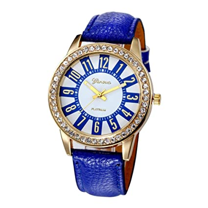 Xinantime Relojes Mujer,Xinan Reloj Cuarzo Acero Inoxidable Analógico PU Cuero (Azul Marino)
