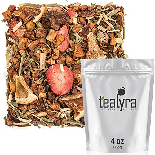 Lemon Strawberry Tea - Tealyra - Lovely Lemongrass - Strawberry - Orange - Fruity Herbal Loose Leaf Tea - Hot and Iced Drink - Vitamins and Antioxidants Rich - Caffeine Free - All Natural - 112g (4-ounce)