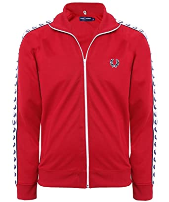 b27490985 Fred Perry Laurel Taped Track Jacket in Blood XX Large: Amazon.co.uk ...