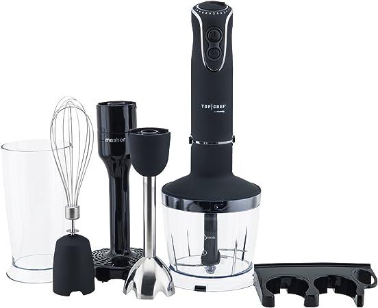 Top Chef Mixeur Plongeant à main 4 en 1 Inox 850W TOPC448, Hand blender 4 Fonctions, Turbo 5 vitesses, Multifonctions hachoir batteur mixer fouet,