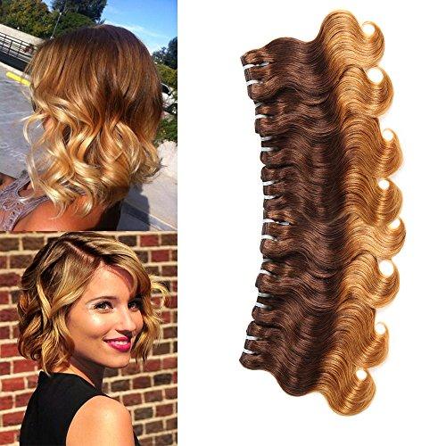 100% Brazilian Virgin Hair Brazilian Remy Hair Ombre Body Wave Bundles 4 pcs 10 inch 50 g/pcs Total 200 g Human Hair Extensions Hair Weaving (4/30 Brown To Blonde)