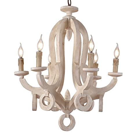 Lovedima rustic cottage chic sculpted wooden 6 light chandelier lovedima rustic cottage chic sculpted wooden 6 light chandelier ceiling light fixture with candle shaped aloadofball Image collections