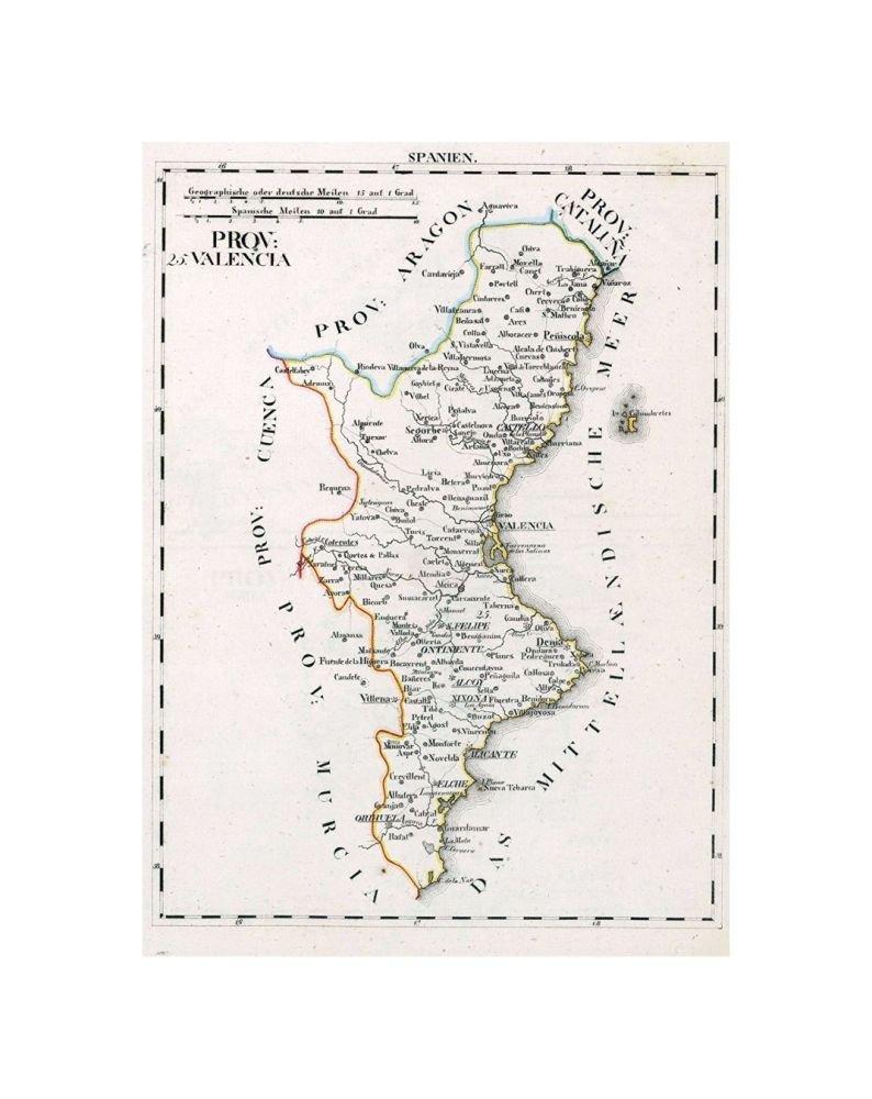 Valencia 1825 - Reproducción de arte vintage fino, tamaño: 18 x 24 cm, listo para enmarcar: Amazon.es: Hogar