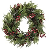 Cedar Wreath With Holly Berries and Pine Cones Green Plastic - 24' Dia