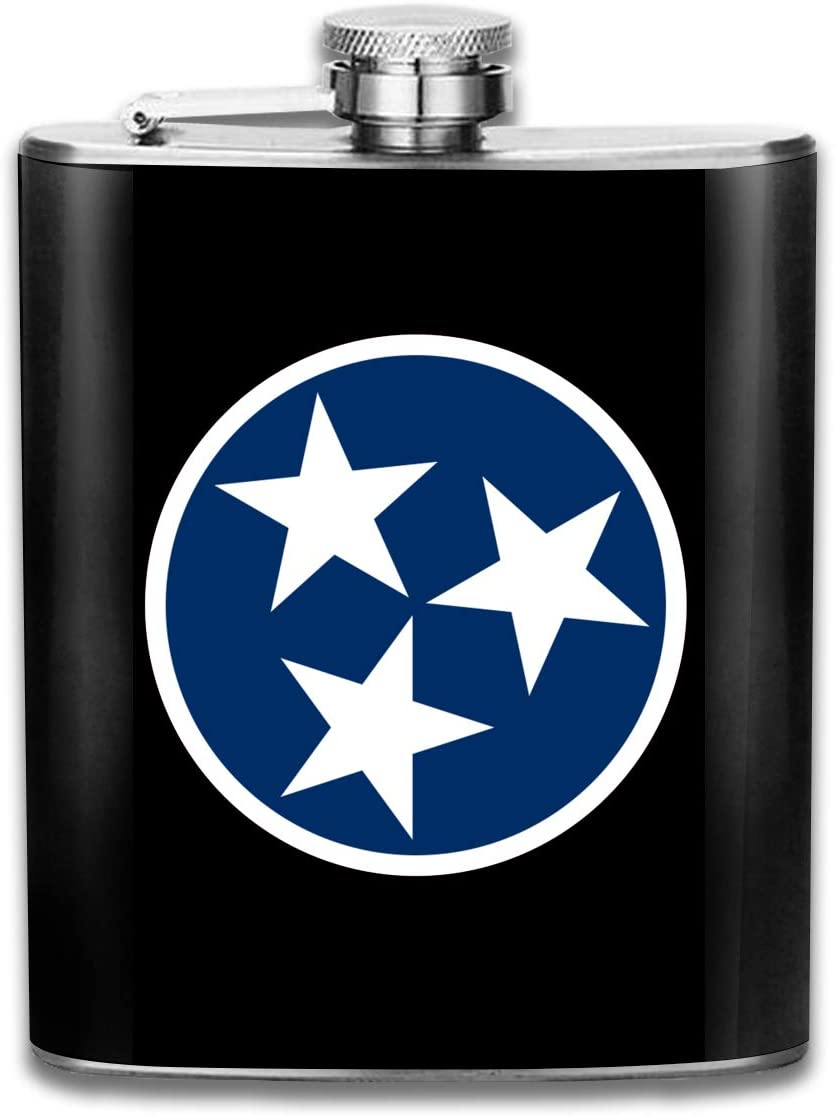 GQOP Stainless Steel Hip Flask Tennessee State Flag Liquor Flagon Wiskey Wine Pot, 7oz