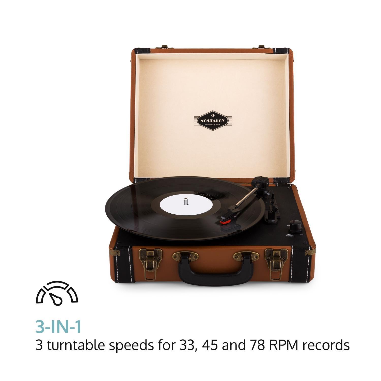/• 3 Plattengr/ö/ßen /• braun auna Jerry Lee /• Plattenspieler /• Schallplattenspieler /• Riemenantrieb /• Stereo-Lautsprecher /• USB-Anschluss zum Digitalisieren /• 3 Geschwindigkeiten /• 33//45//78 U//min