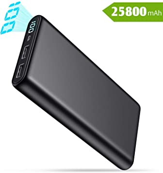 QTshine Batería Externa 25800mAh, Power Bank [Pantalla LCD Digital ...