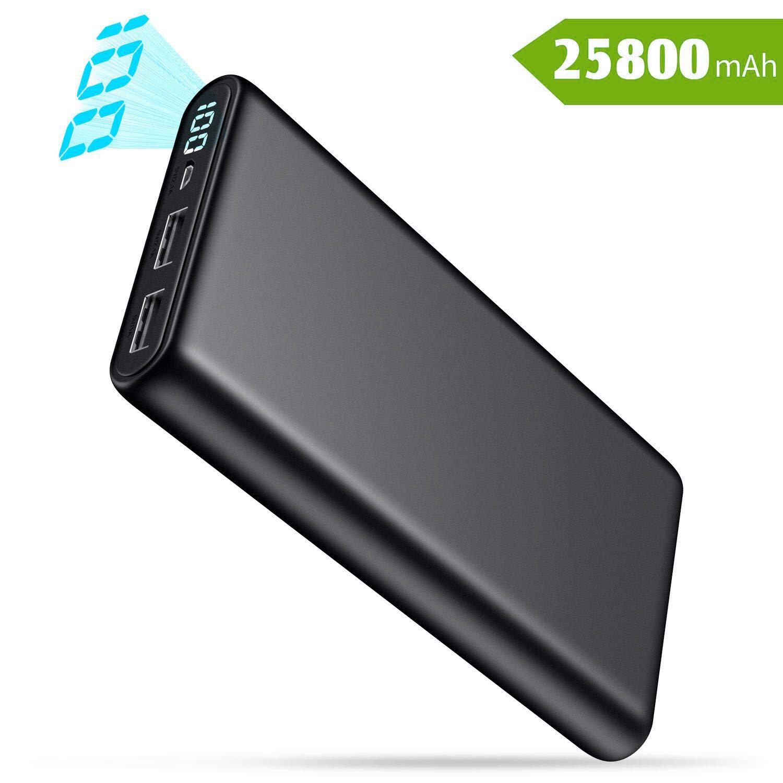 Power Bank Ultra Capacidad Cargador Port/átil M/óvil con 2 Puertos USB Carga Alta Velocidad para Smartphones Tabletas y M/ás Dispositivos Pantalla LCD Digital QTshine Bater/ía Externa 25800mAh