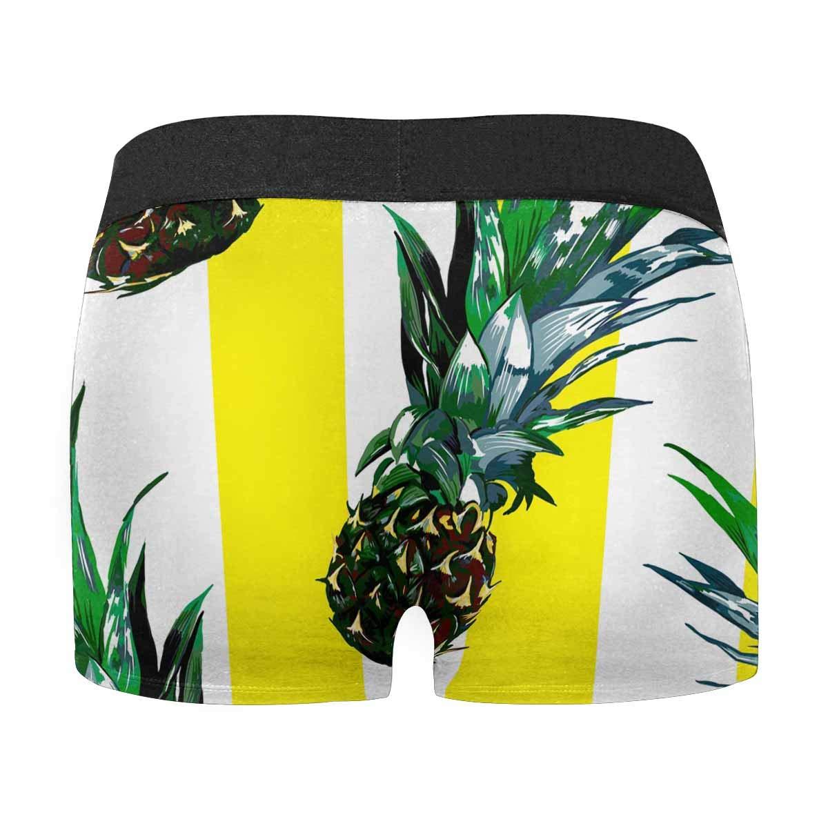 XS-3XL INTERESTPRINT Boxer Briefs Mens Underwear Pineapple Yellow White Stripes