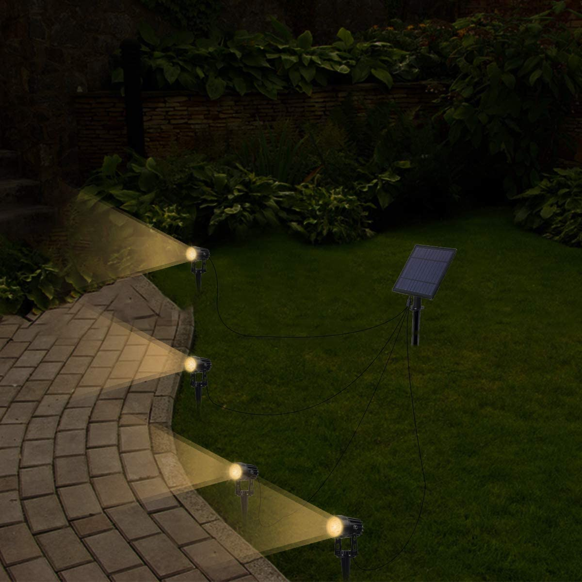 Pack of 2 Solar Outdoor Lights Adjustable 7 Led Color Changing Solar Garden Spotlight 2-in-1 Waterproof Wall Light Auto On//Off for Yard Pathway Lawn Patio Landscape Tree