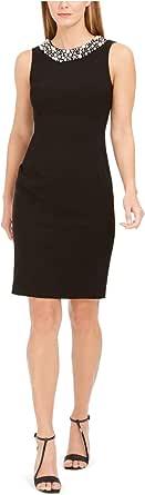 Calvin Klein Women's Petite Sheath Sleeveless Dress with Pearl Neck