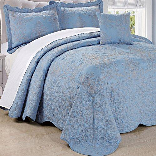 Serenta Damask 4 Piece Bedspread Set, King, Forget Me Not