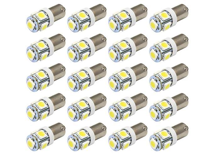 Yolu 2pcs LED Car Lights Bulbs BA9 BA9S 5SMD Super Bright White Turn Signal Light Bulbs 53 57 182 257