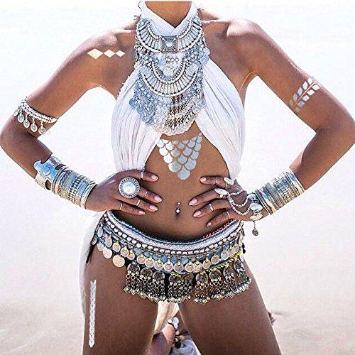 Designer Metallic Tattoos by TribeTats -- Henna Inspired Body Art -- Applies In A Flash, Long Lasting -- Boho Music Festival Accessories
