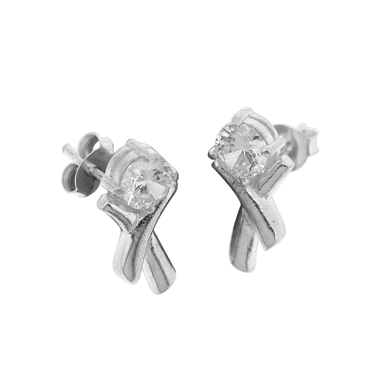 Sterling Silver Cubic Zirconia Simulated Diamond Unique Design Stud Earrings
