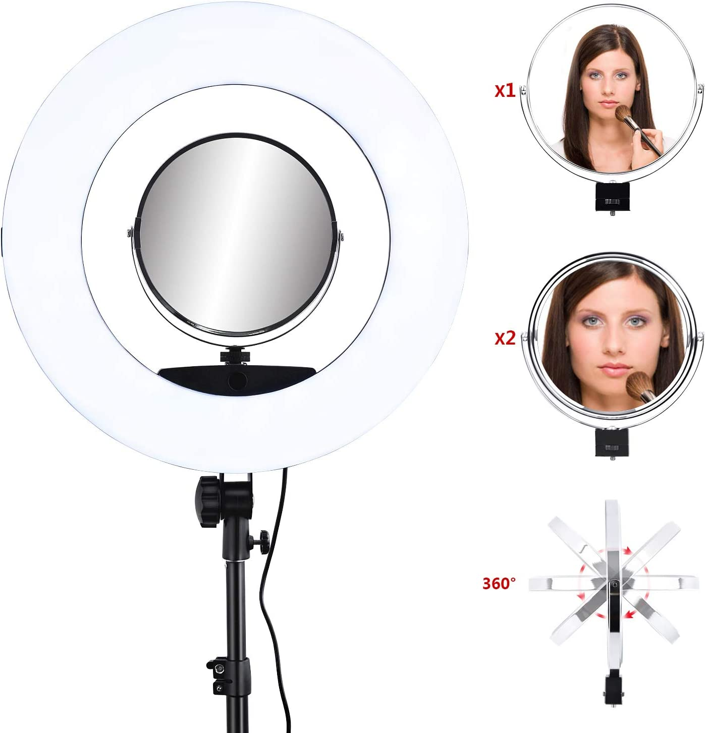 HUIGE 45cm Outer 84W 5500K//3200K Dimmable LED Video Lighting kit Stand Phone Adapter Carrying Bag for Makeup Video Shooting Salon Portrait Selfie
