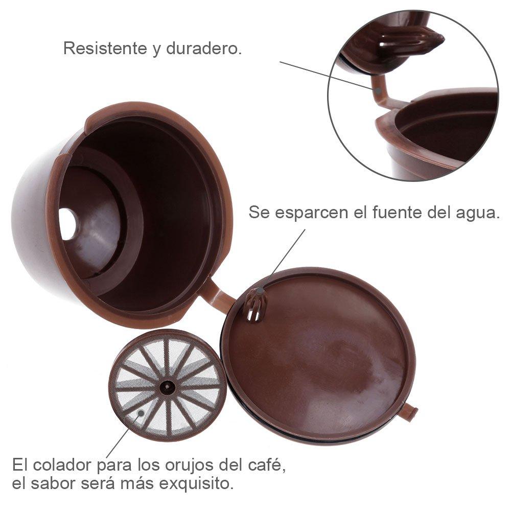 Lictin 6 Pack Cápsulas Filtros de Café Recargable Reutilizable para Cafetera Dolce Gusto Resistente Más de 150 Usos de Sustitucion con Equipo Incluye 2 ...