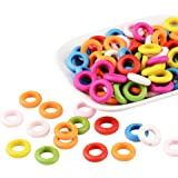 Pandahall 100 Pcs Mixed Color Donut Wood Beads, Dyed, Lead Free, about 15mm in diameter, 4mm thick, hole: 8mm