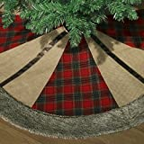 Valery Madelyn 48'' Trendy Red and Black Tartan Christmas Tree Skirt,Themed with Christmas Ornament(Not Included)