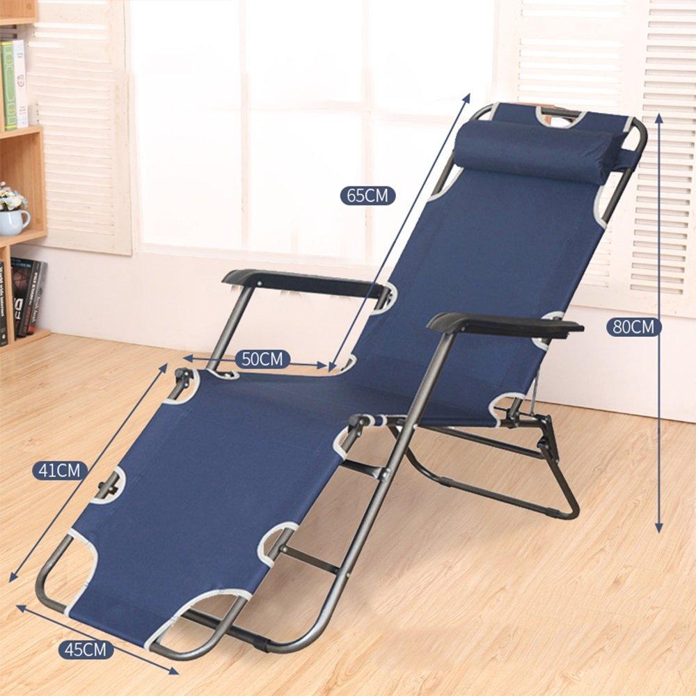 XXHDYR Sommer Liegestuhl Klappstuhl Balkon Büro Mittagspause Stuhl Strandkorb Faulen Stuhl Klappstuhl (Farbe : Dunkelblau)