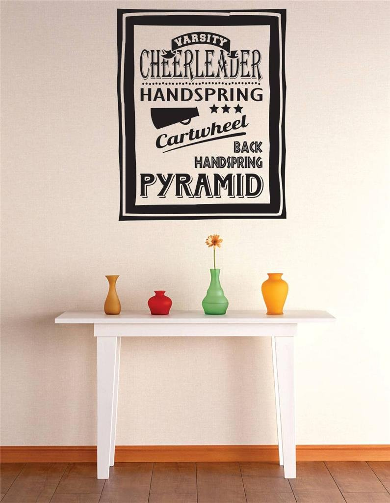Black Design with Vinyl RE 1 C 2221 Varsity Cheerleader Handspring Cartwheel Pyramid Girls Bedroom Teen Image Sports Quote Wall Decal Sticker 12 x 18