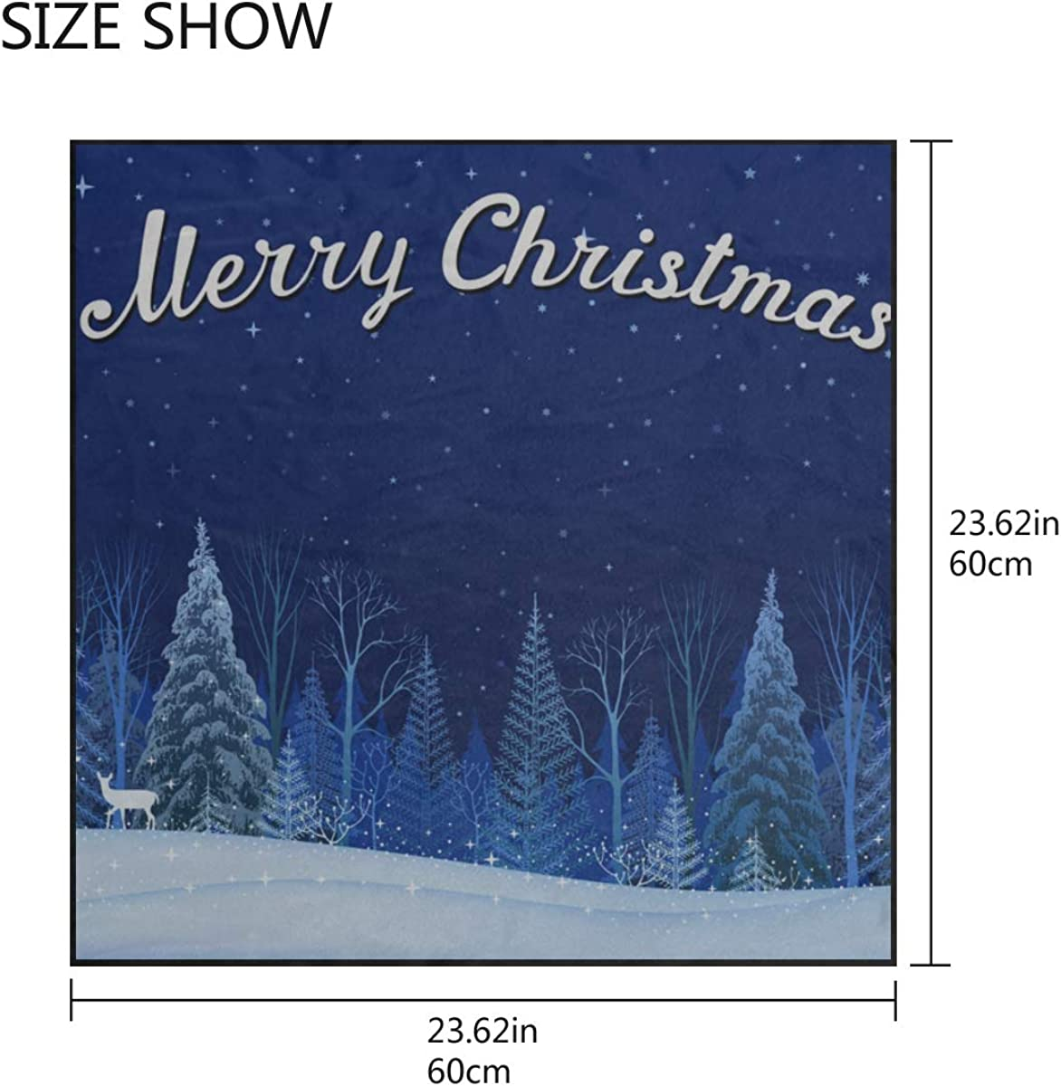 Soft Polyester Silk Square Neckerchief Fashion Print White Christmas Snow View Lady Head Scarf Summer Scarf Bandanas Scarves Multiple Ways Of Wearing Daily Decor