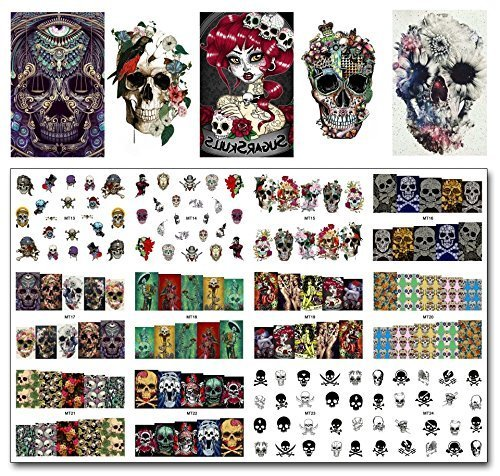 Dead Snow Zombie Costume (12 sets The walking dead zombie apocalypse nail decals Halloween horror movie nail tipswater transfer nail stickers tattoo nail acrylic nail accessories gothic nail vinyls French tip cosplay nail art)