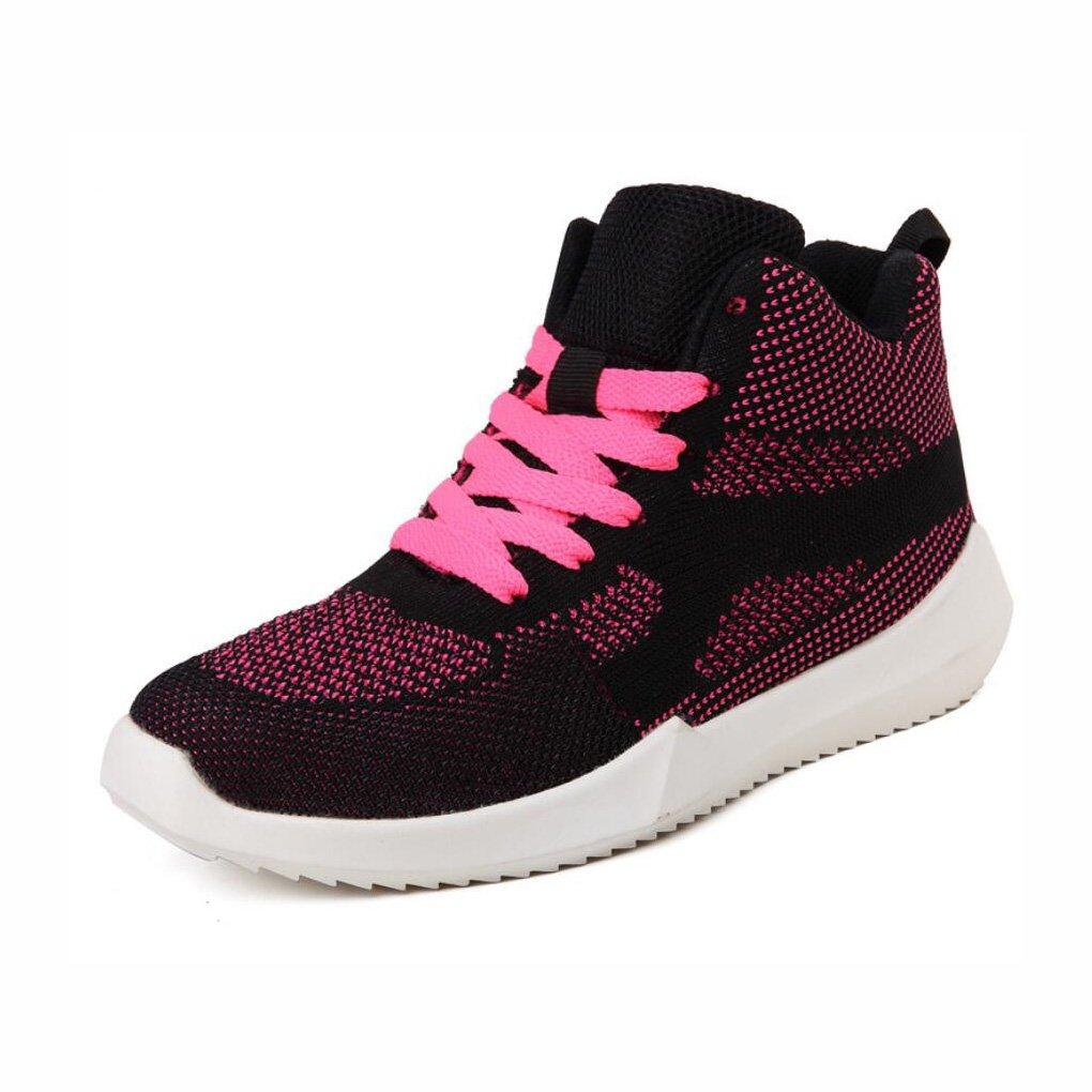 YaXuan Sommer-beiläufige Schuhe, Weibliche Hohe Hilfe Breathable Turnschuhe, Erhöhen Starke Unterseite, die Gesponnene Ineinander Greifen-Laufende Schuhe, Trend Muffin Bottom Fashion-Schuhe schwimmt